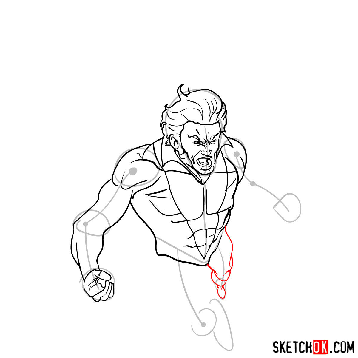How to draw Banshee mutant from X-Men - step 10