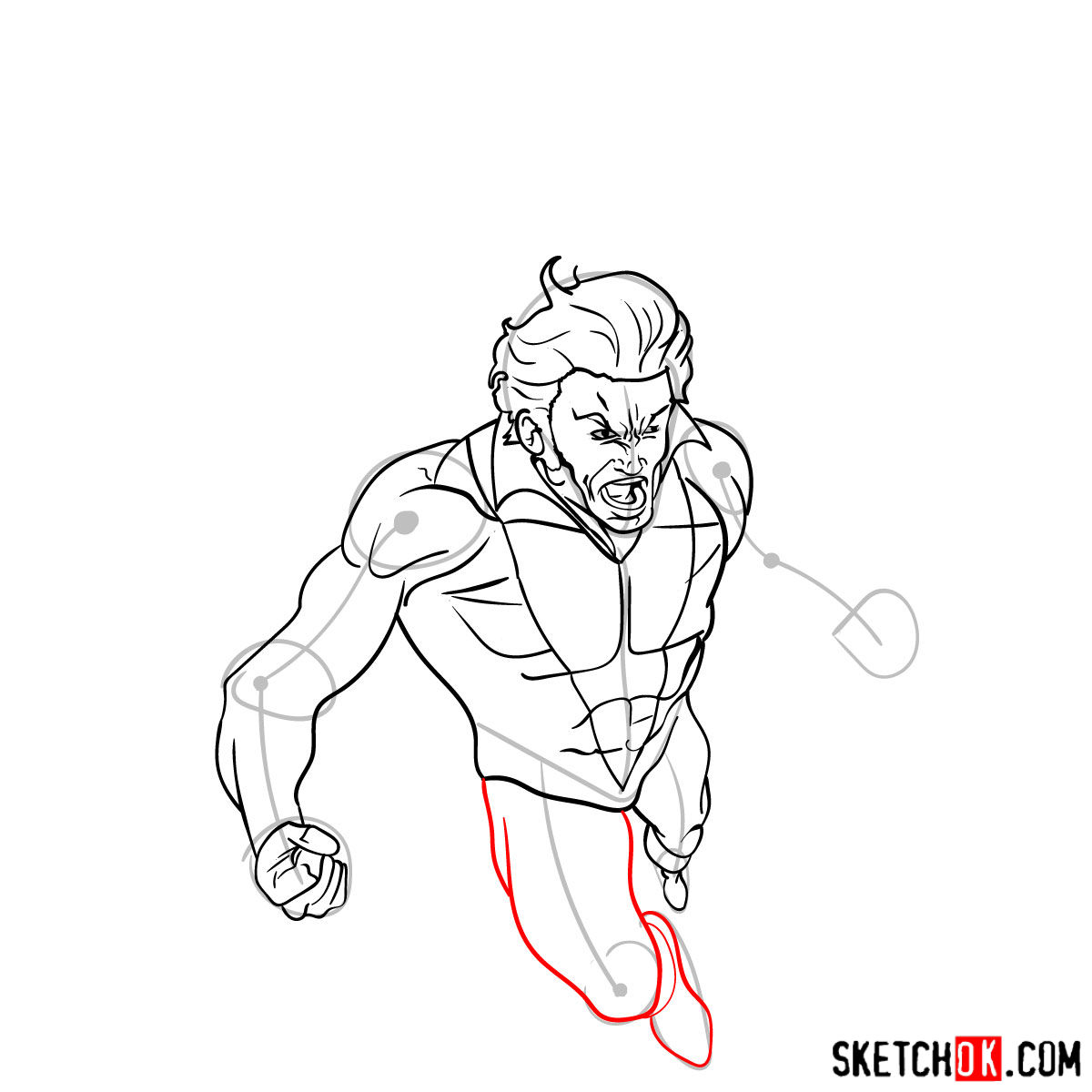 How to draw Banshee mutant from X-Men - step 11