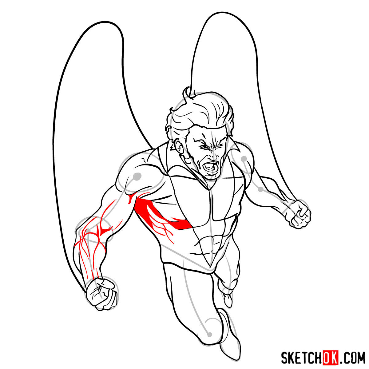 How to draw Banshee mutant from X-Men - step 14