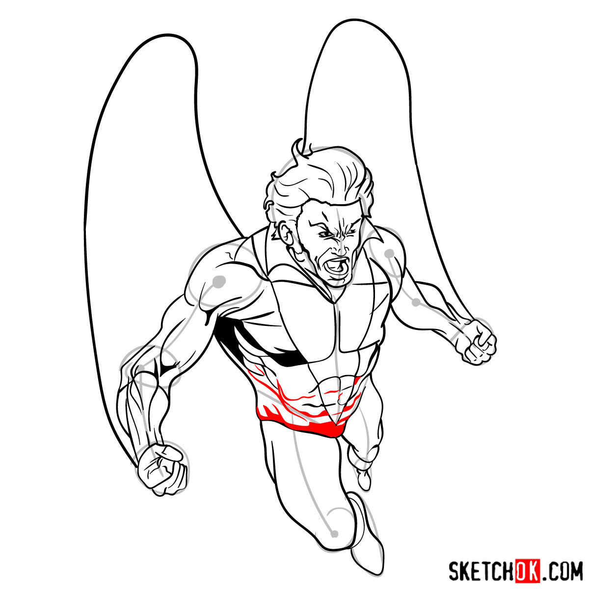 How to draw Banshee mutant from X-Men - step 15