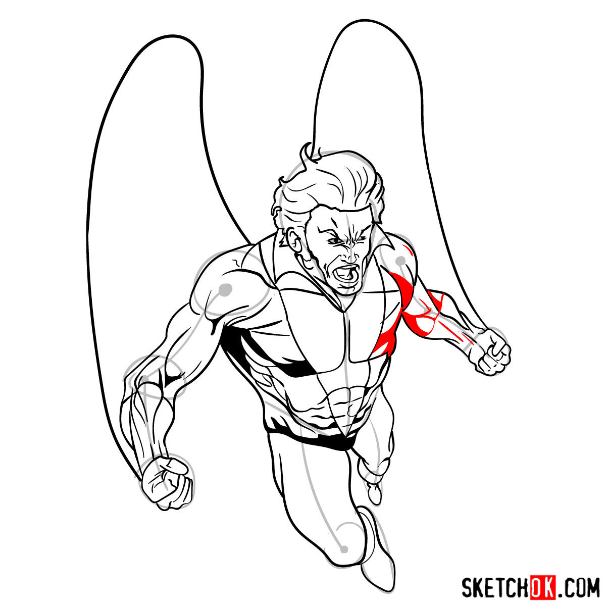 How to draw Banshee mutant from X-Men - step 16