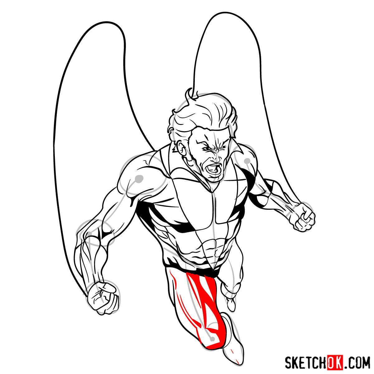 How to draw Banshee mutant from X-Men - step 17