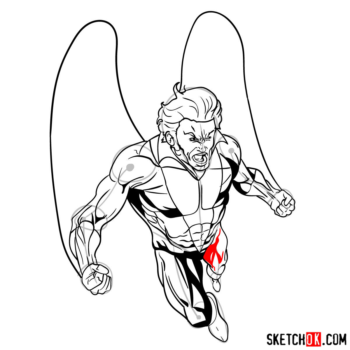 How to draw Banshee mutant from X-Men - step 18