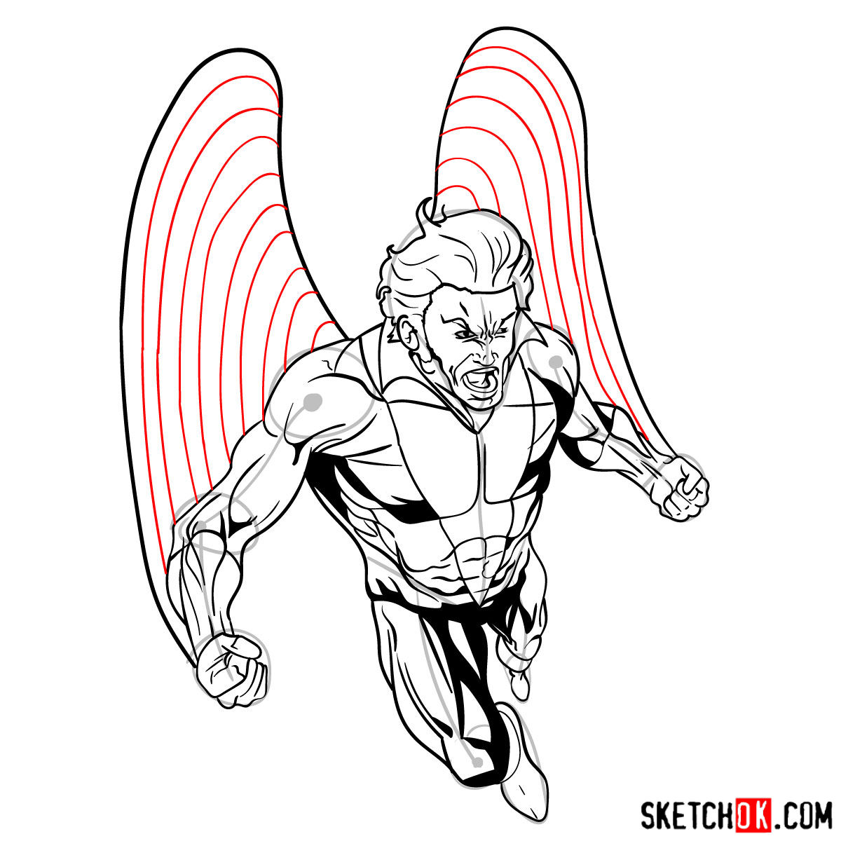 How to draw Banshee mutant from X-Men - step 19
