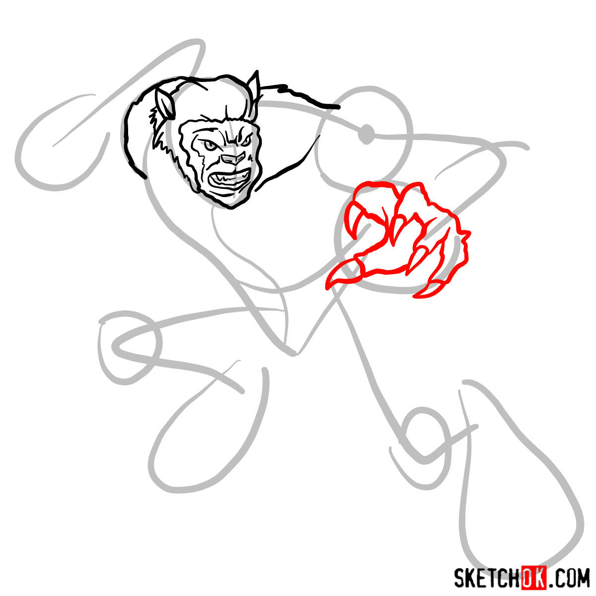 How to draw Beast (X-Men mutant) - step 06