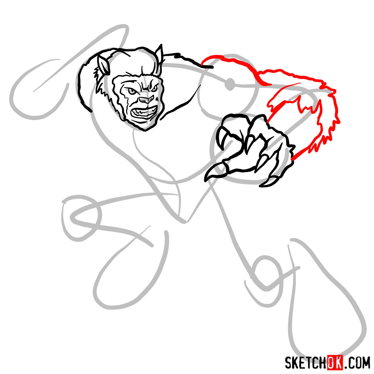 How to draw Beast (X-Men mutant) - step 07