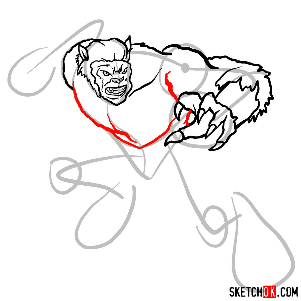 How to draw Beast (X-Men mutant) - step 08