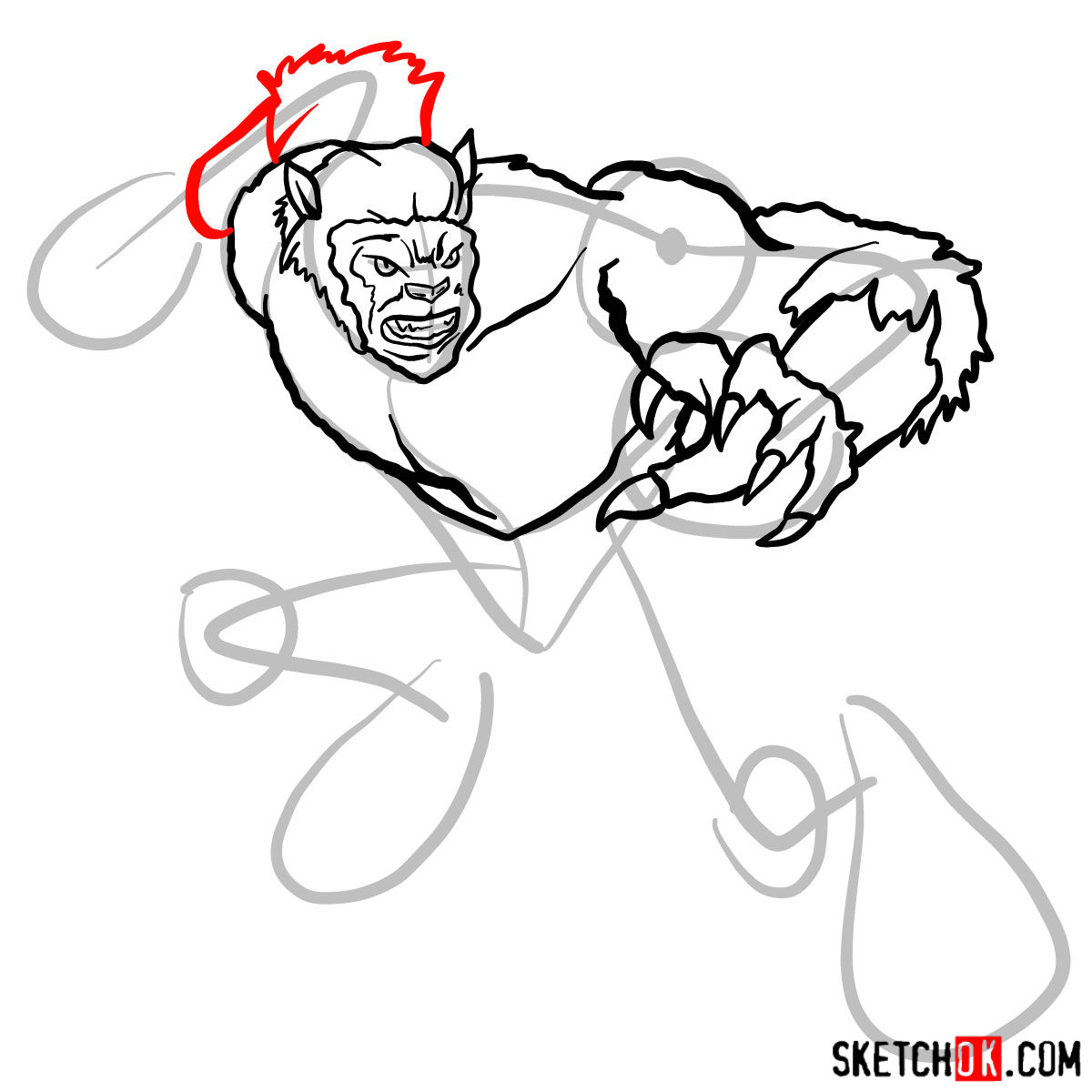 How to draw Beast (X-Men mutant) - step 09