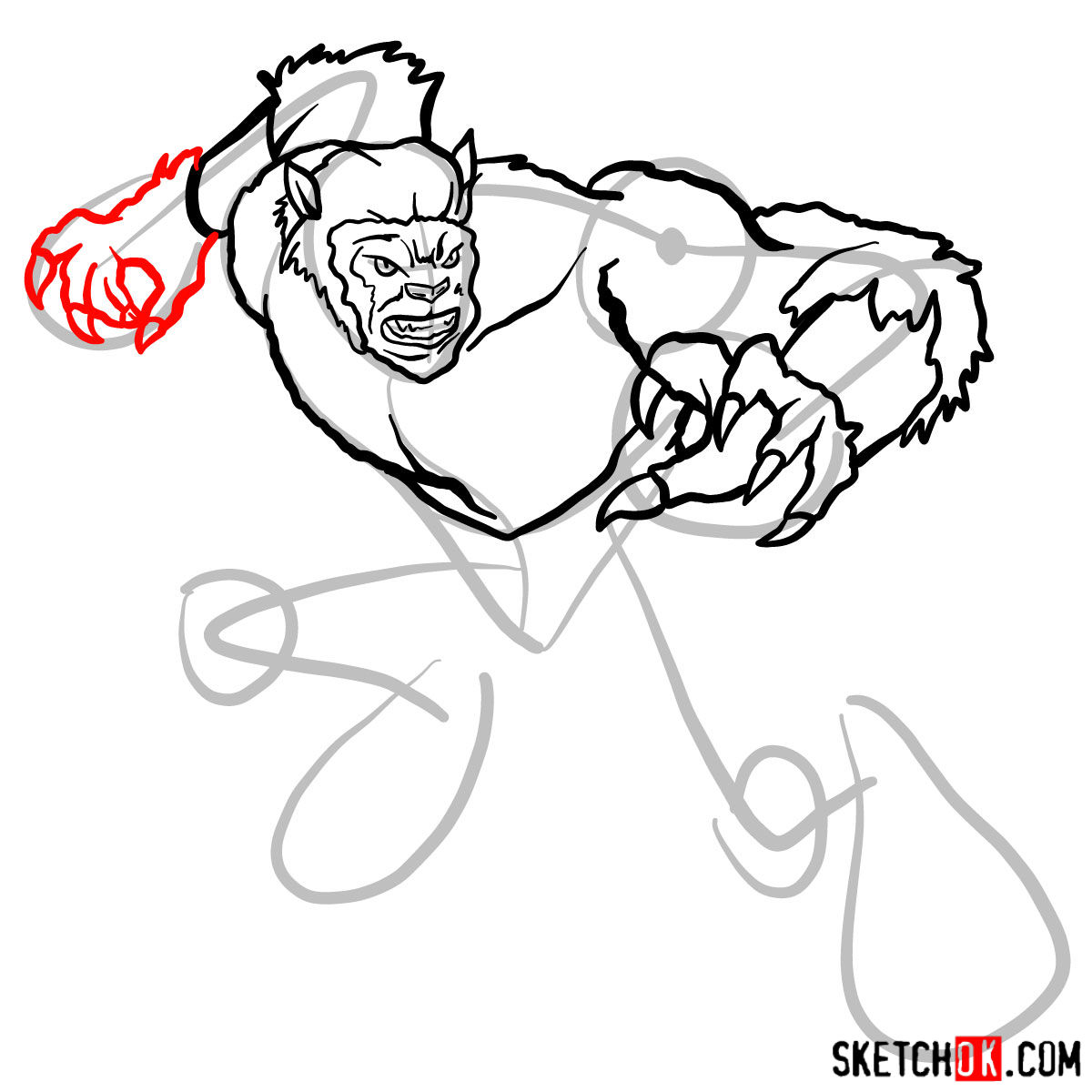 How to draw Beast (X-Men mutant) - step 10