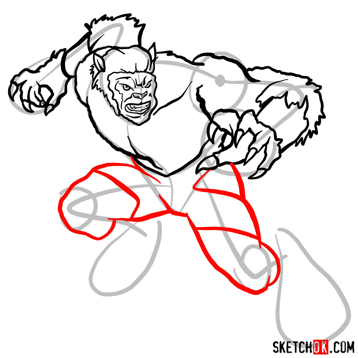 How to draw Beast (X-Men mutant) - step 11