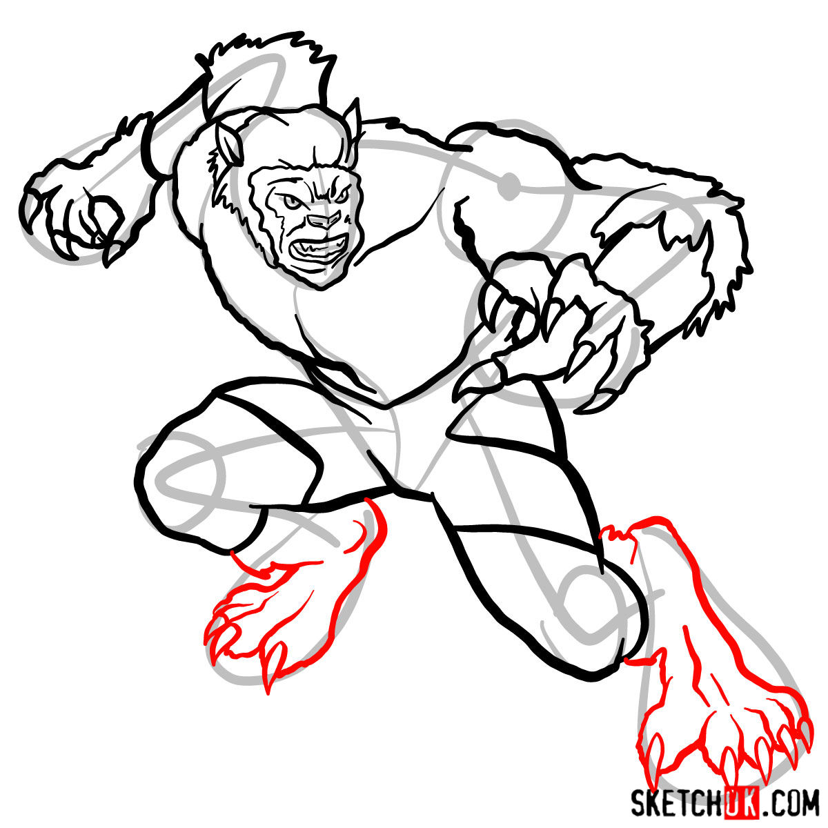 How to draw Beast (X-Men mutant) - step 12