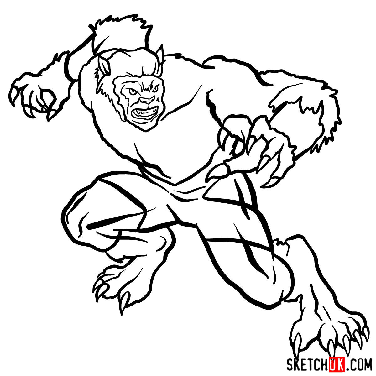 How to draw Beast (X-Men mutant) - step 14