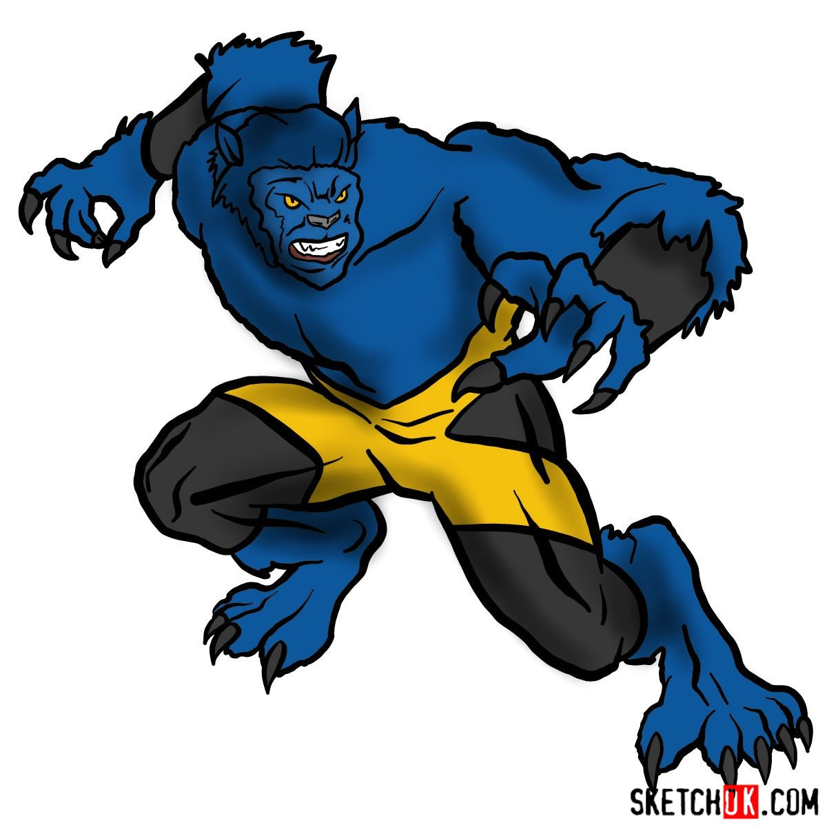 How to draw Beast (X-Men mutant)