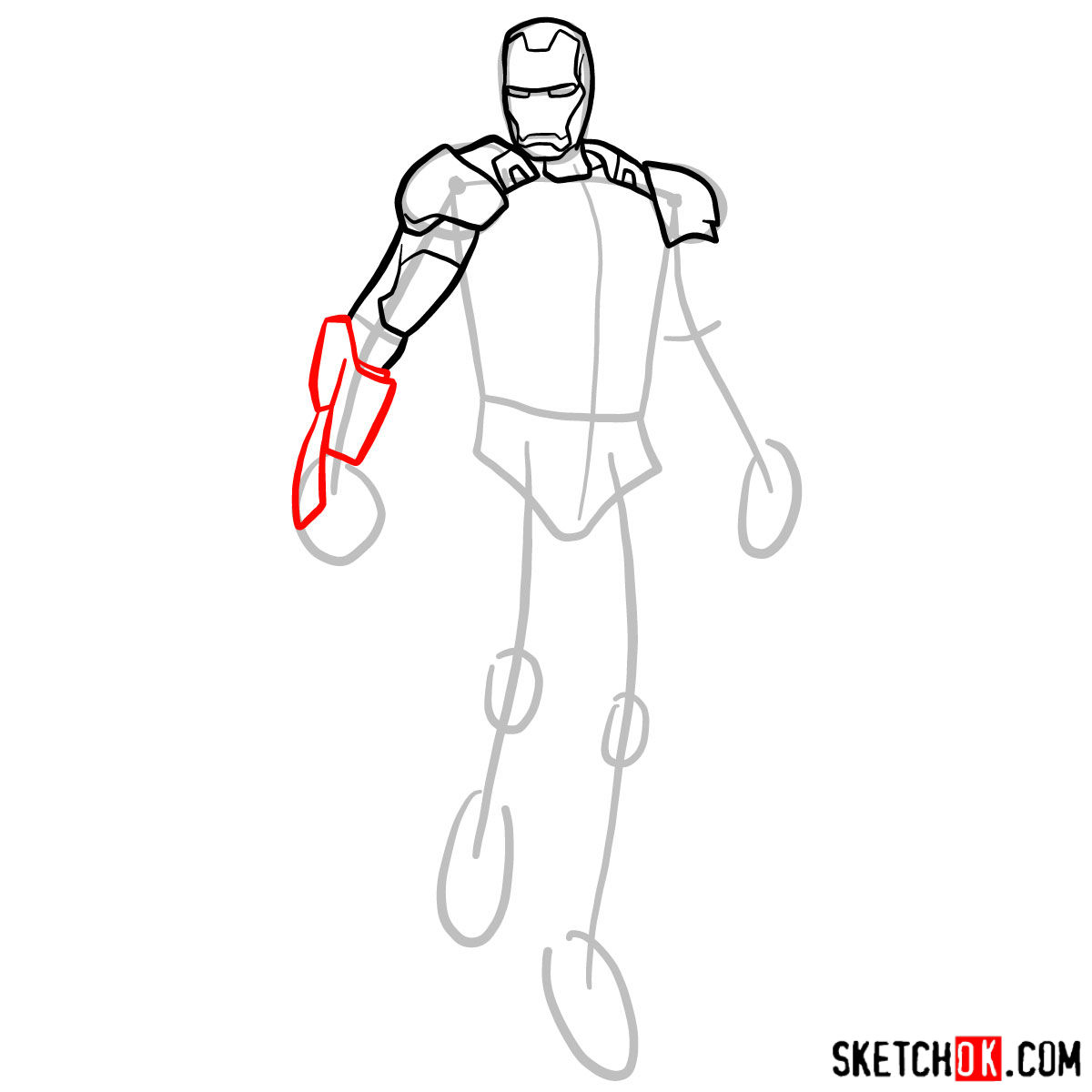 How to draw Iron Man in full growth - 