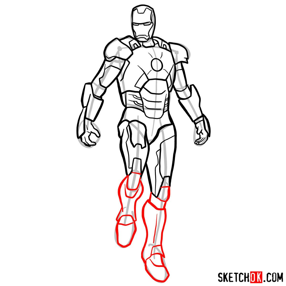How to draw Iron Man in full growth - step 14