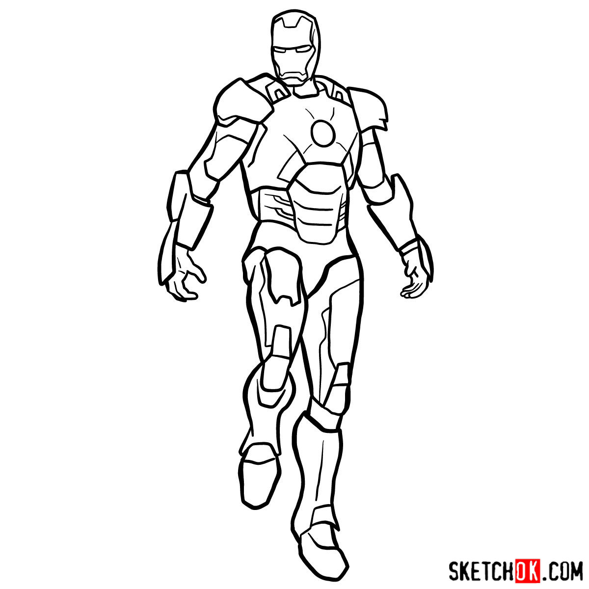 How to draw iron man in full growth step 15