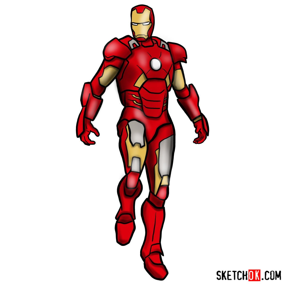 How to draw Iron Man in full growth