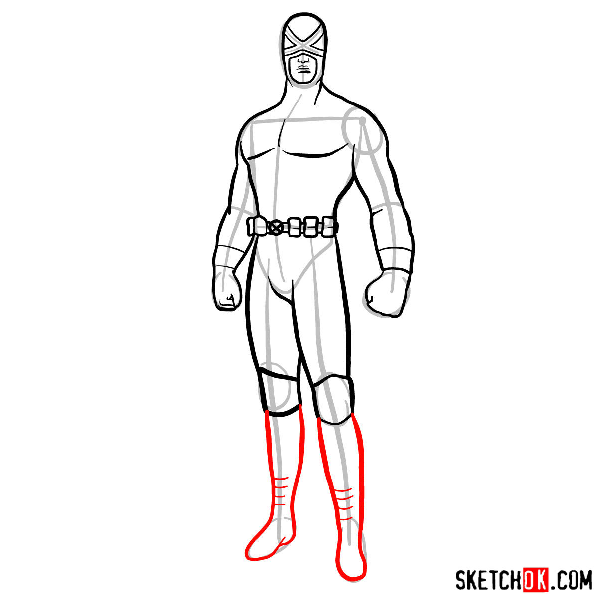 How to draw Cyclops in a dark-red uniform - step 10