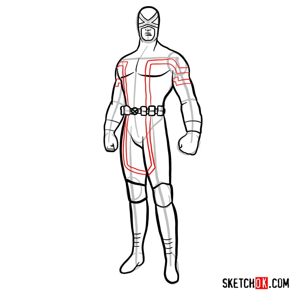 How to draw Cyclops in a dark-red uniform - step 11