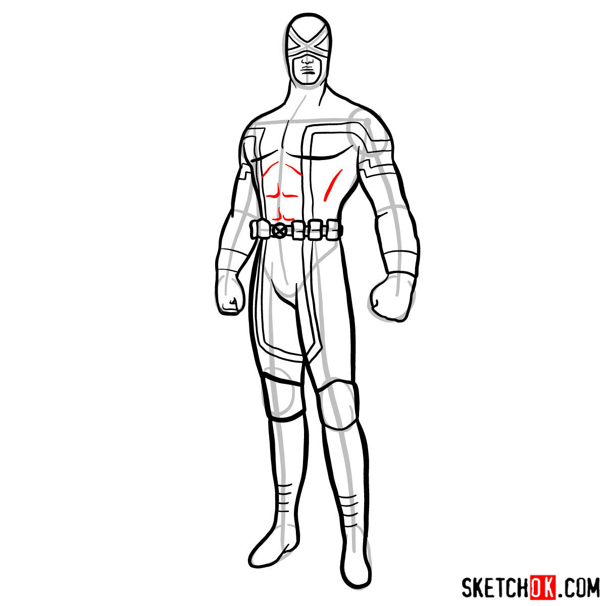 How to draw Cyclops in a dark-red uniform - step 12