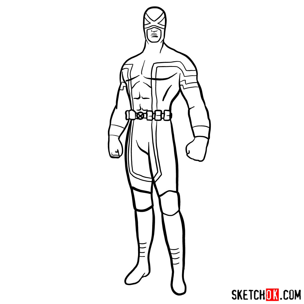 How to draw Cyclops in a dark-red uniform - step 13