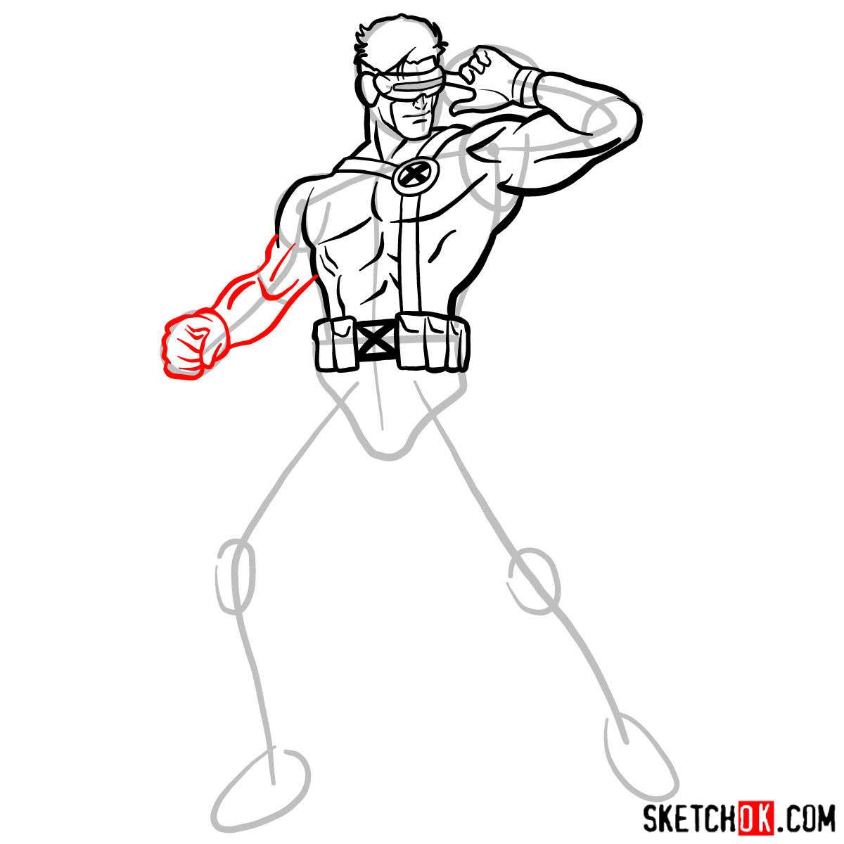 How to draw Cyclops from X-Men - step 12