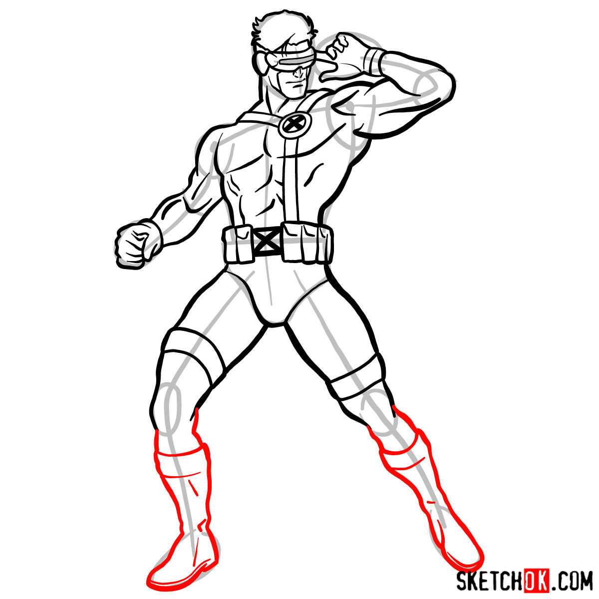 How to draw Cyclops from X-Men - step 14