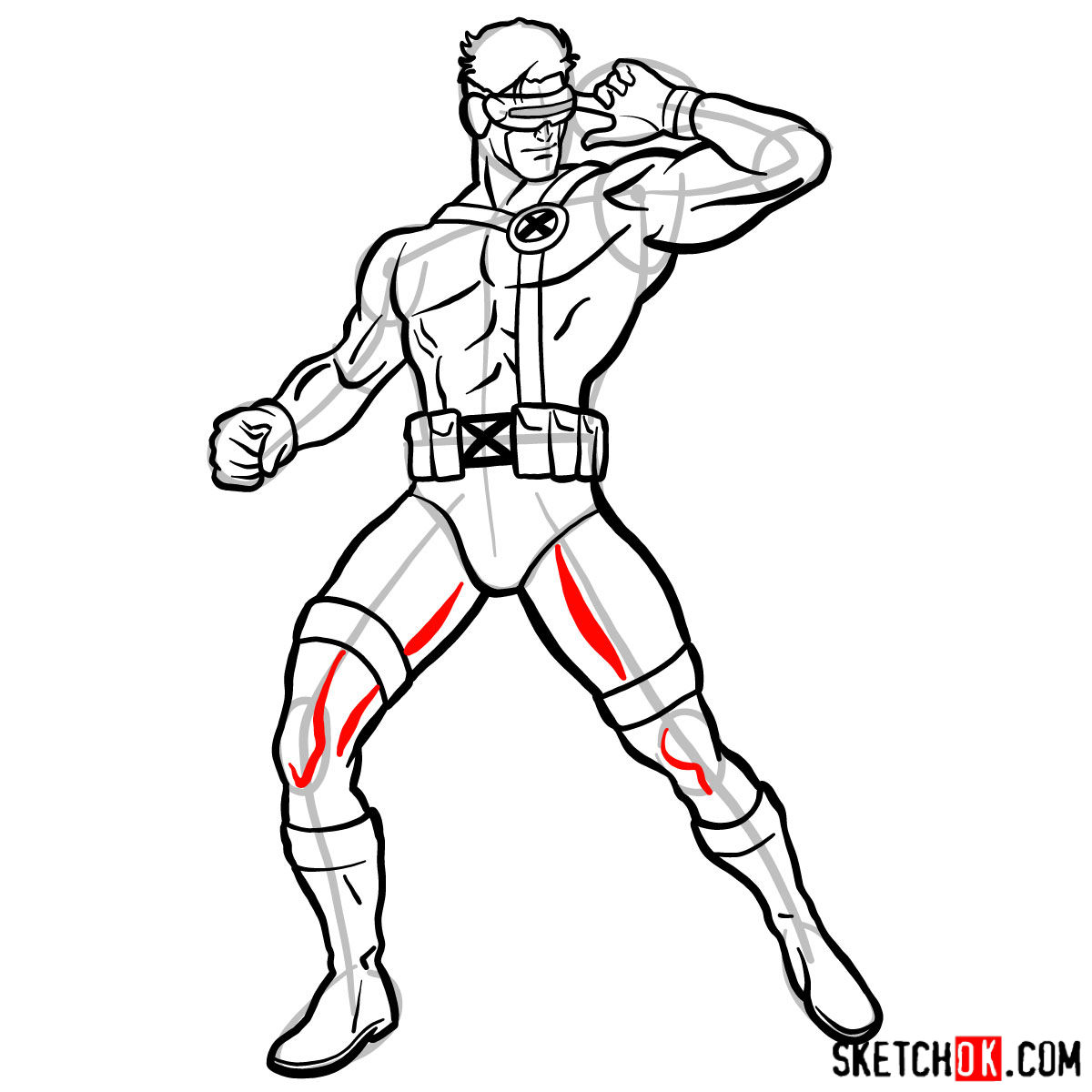 How to draw Cyclops from X-Men - step 15