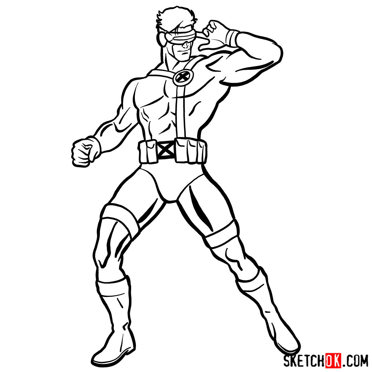 How to draw Cyclops from X-Men - step 16