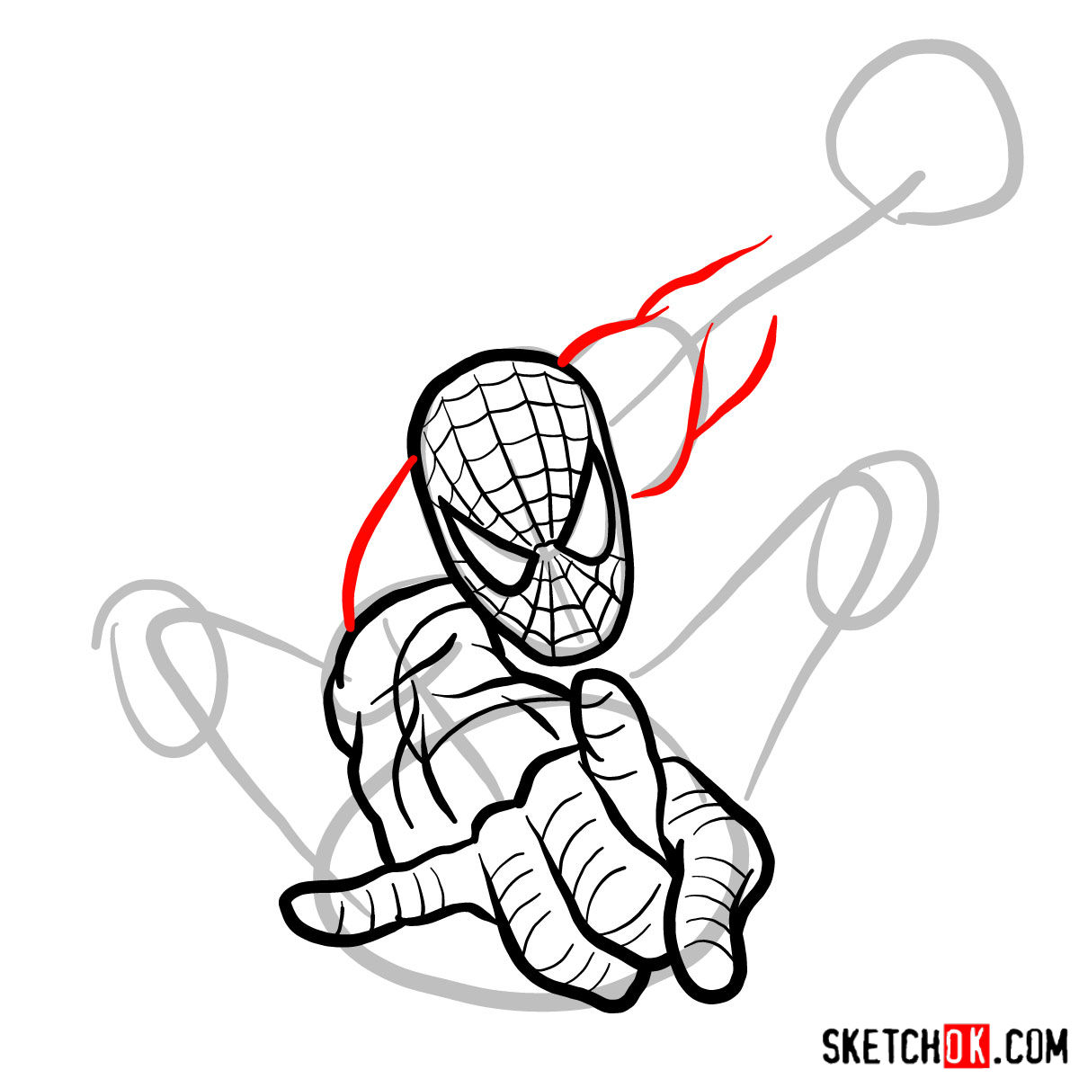 How to draw Spider-Man in jump - step 08