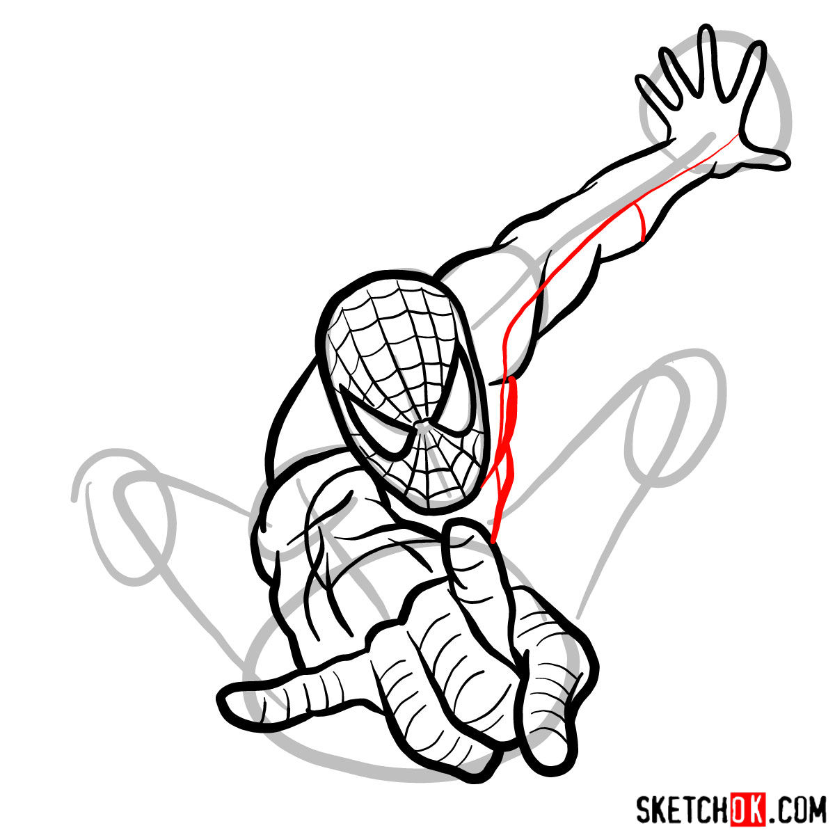 How to draw Spider-Man in jump - step 10