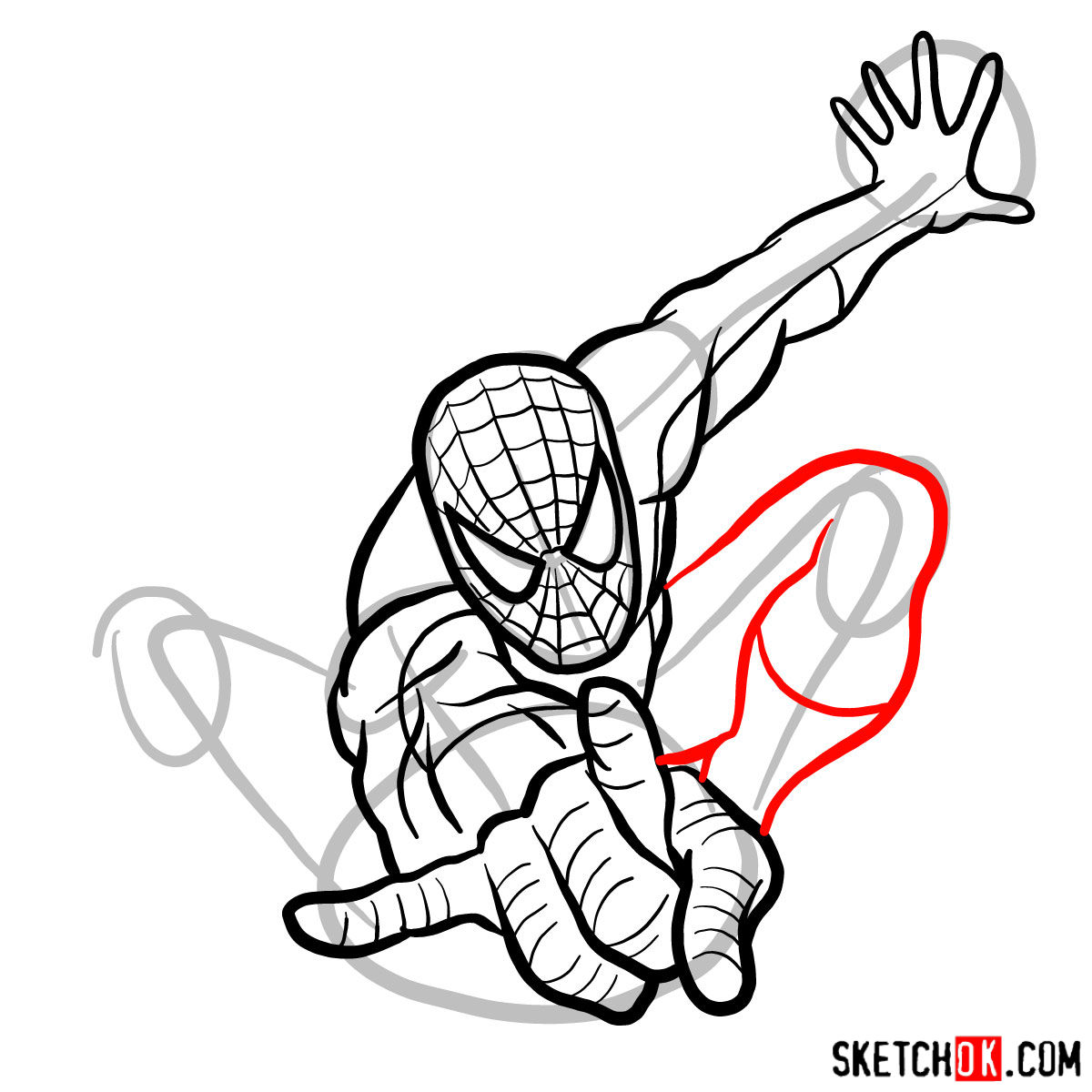 How to draw Spider-Man in jump - step 11