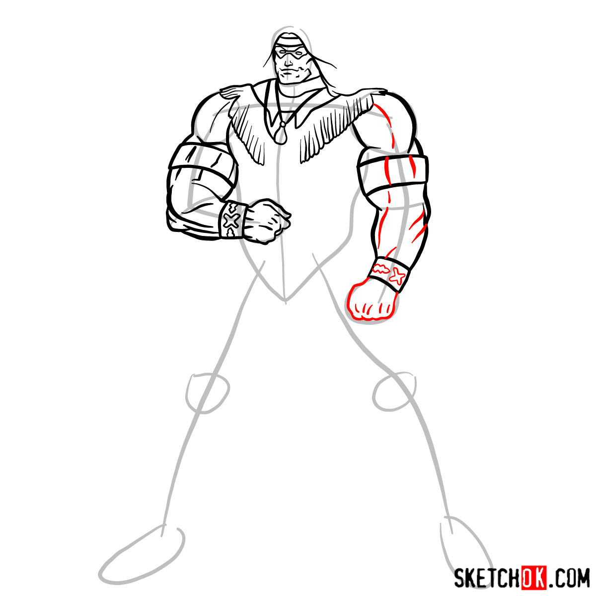 How to draw Warpath (Thunderbird) - step 09