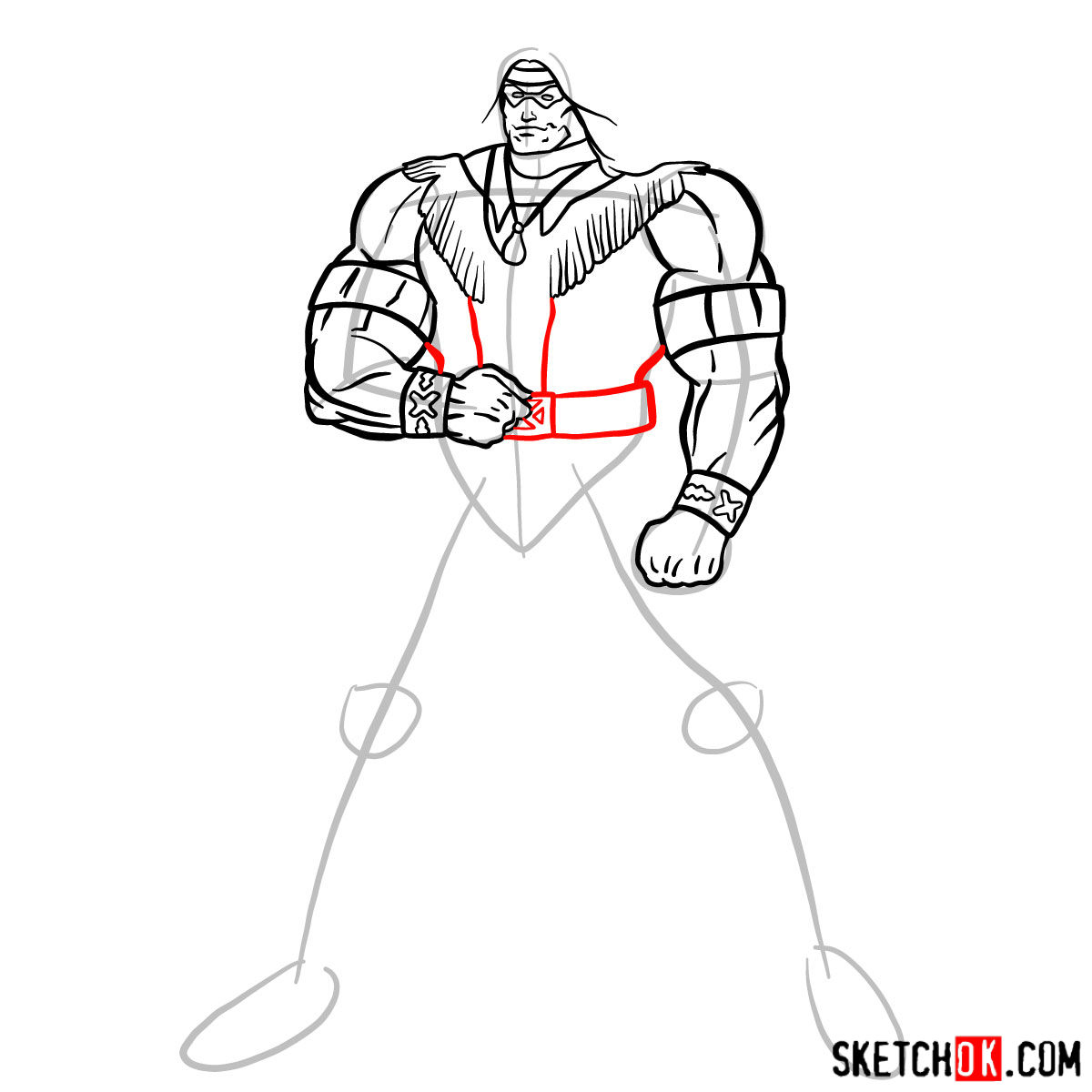How to draw Warpath (Thunderbird) - step 10