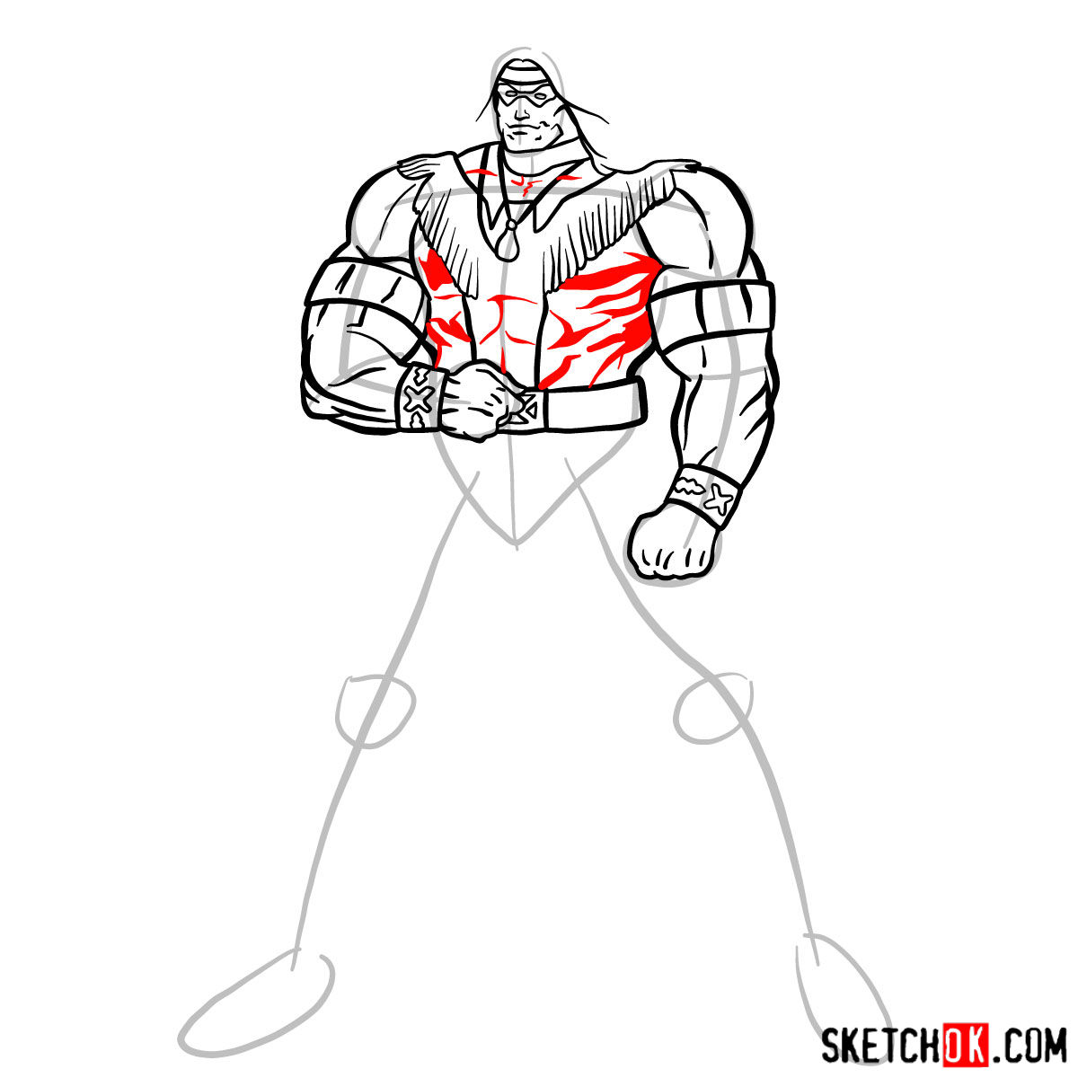 How to draw Warpath (Thunderbird) - step 11