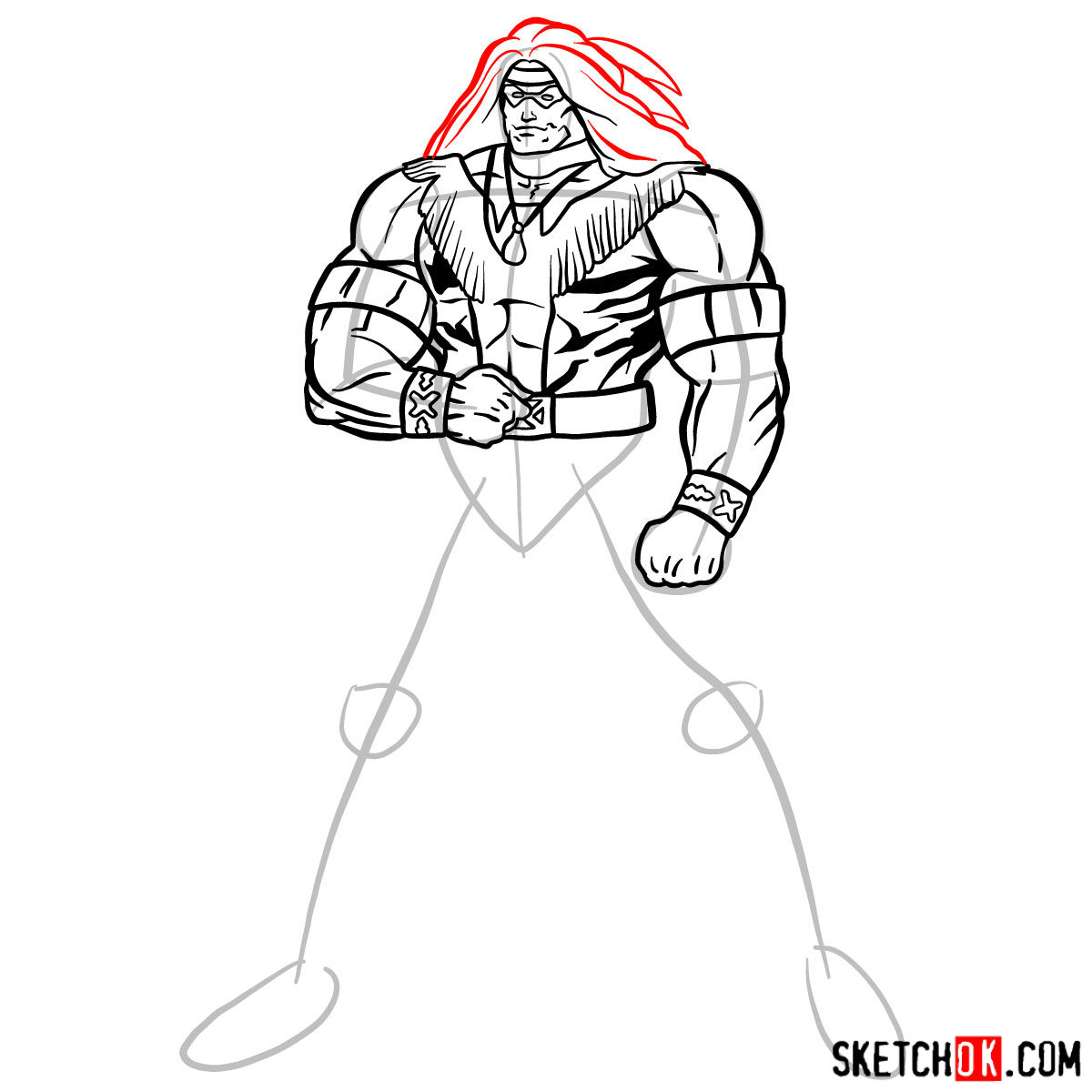 How to draw Warpath (Thunderbird) - step 12