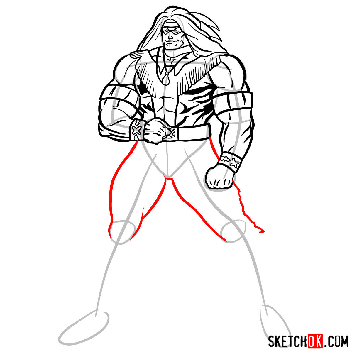 How to draw Warpath (Thunderbird) - step 13