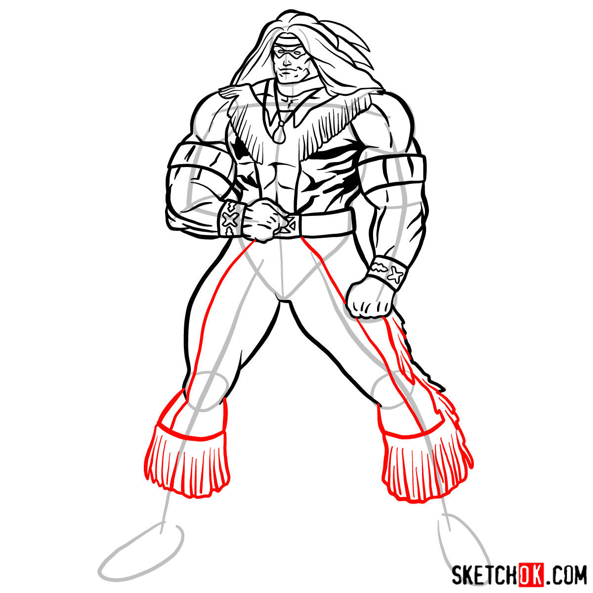How to draw Warpath (Thunderbird) - step 14
