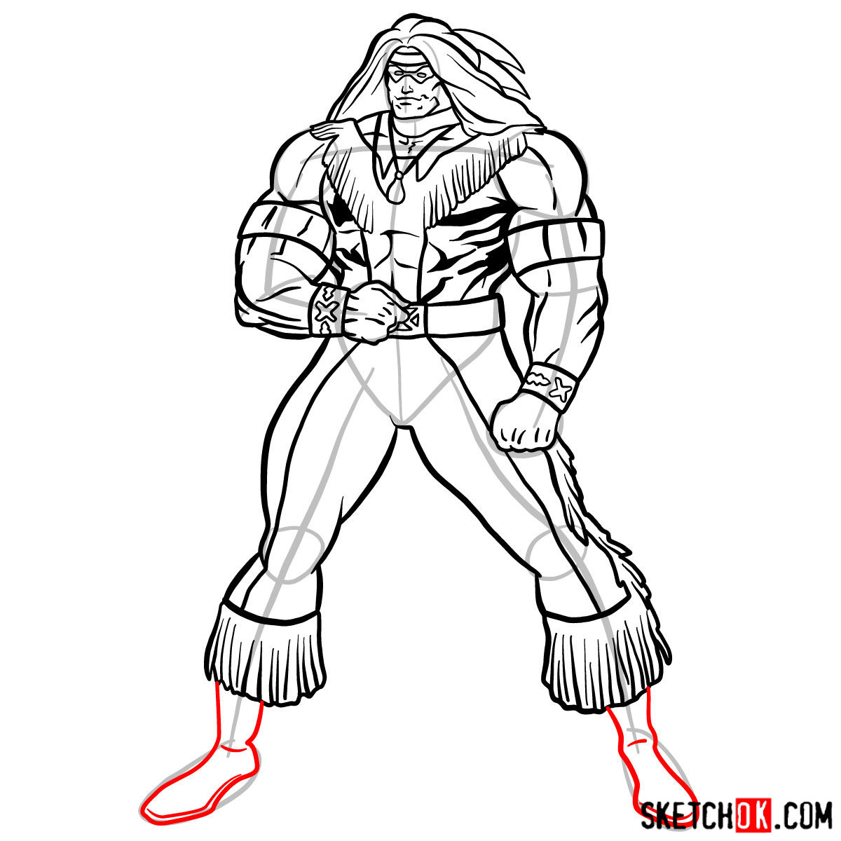 How to draw Warpath (Thunderbird) - step 15