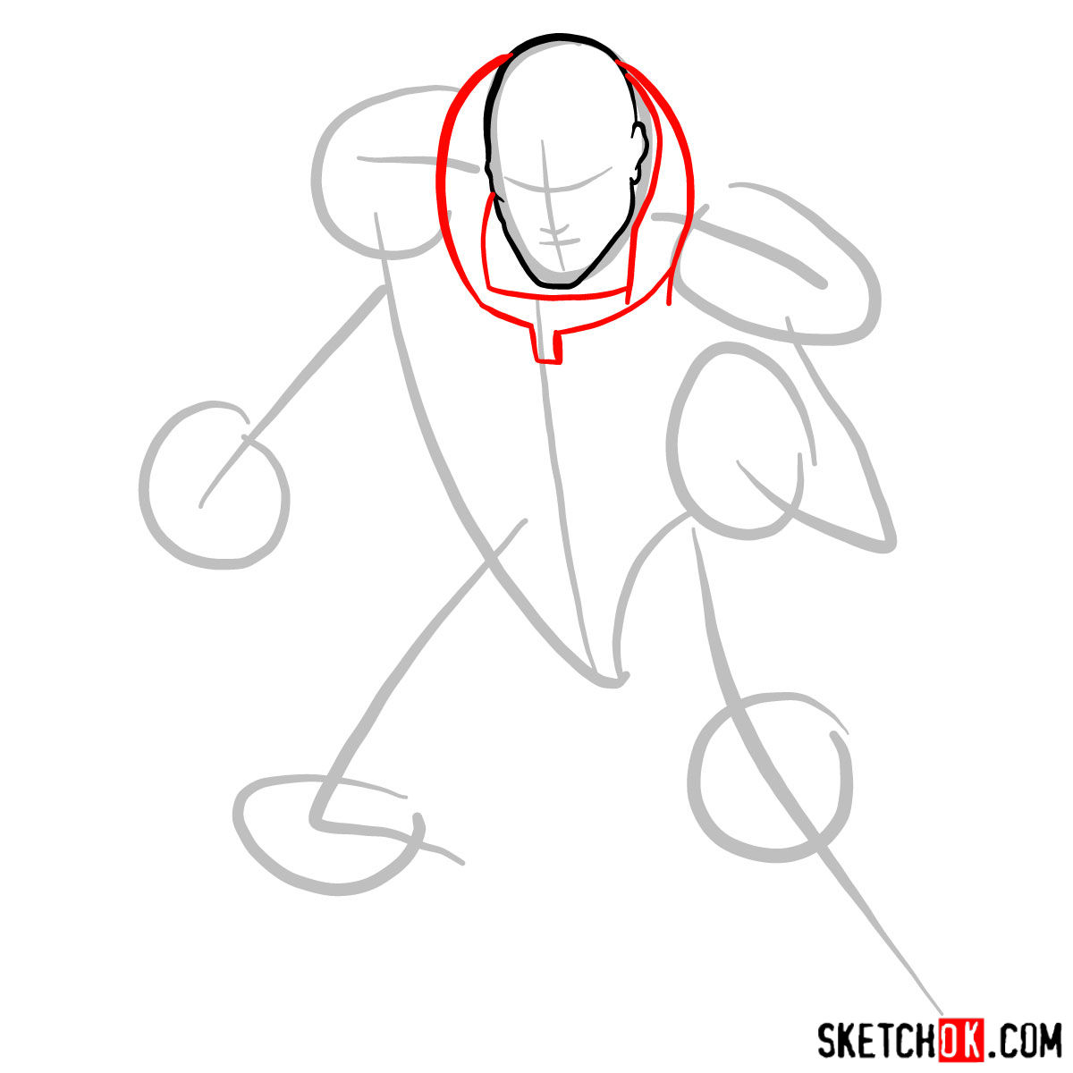 How to draw Lex Luthor - step 03