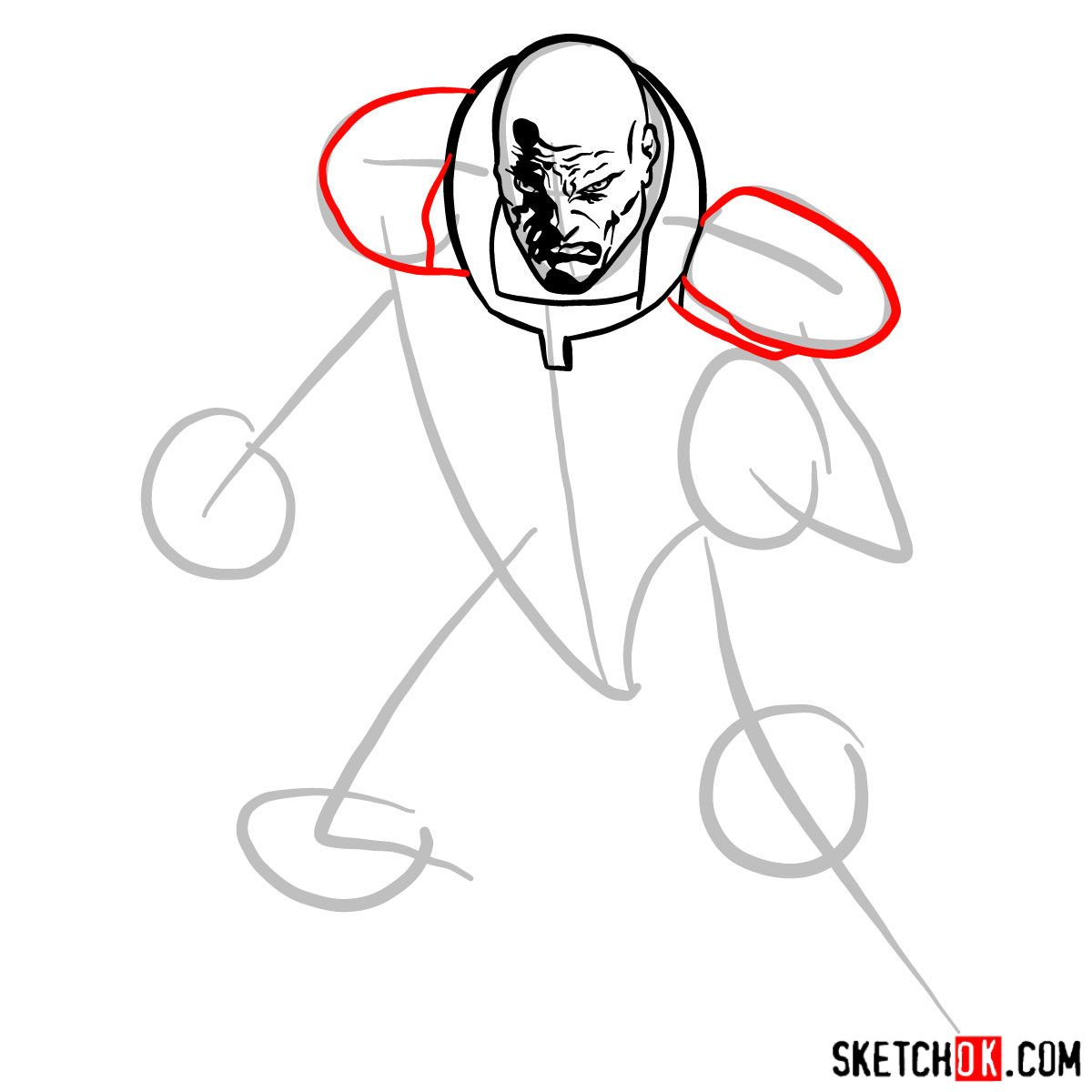 How to draw Lex Luthor - step 06