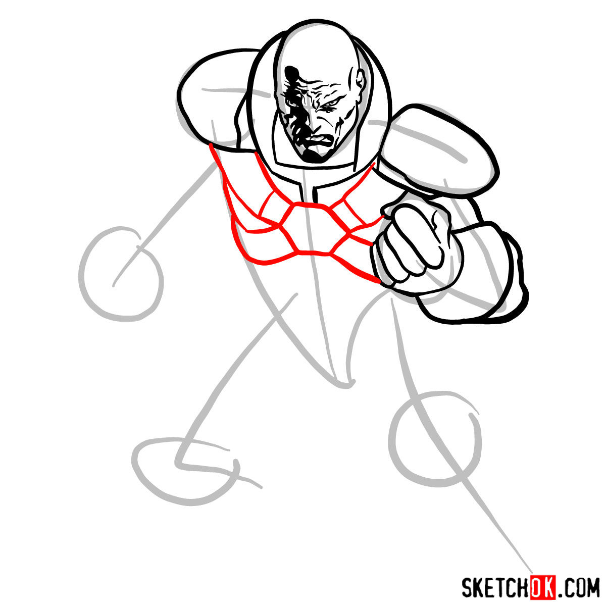 How to draw Lex Luthor - step 08