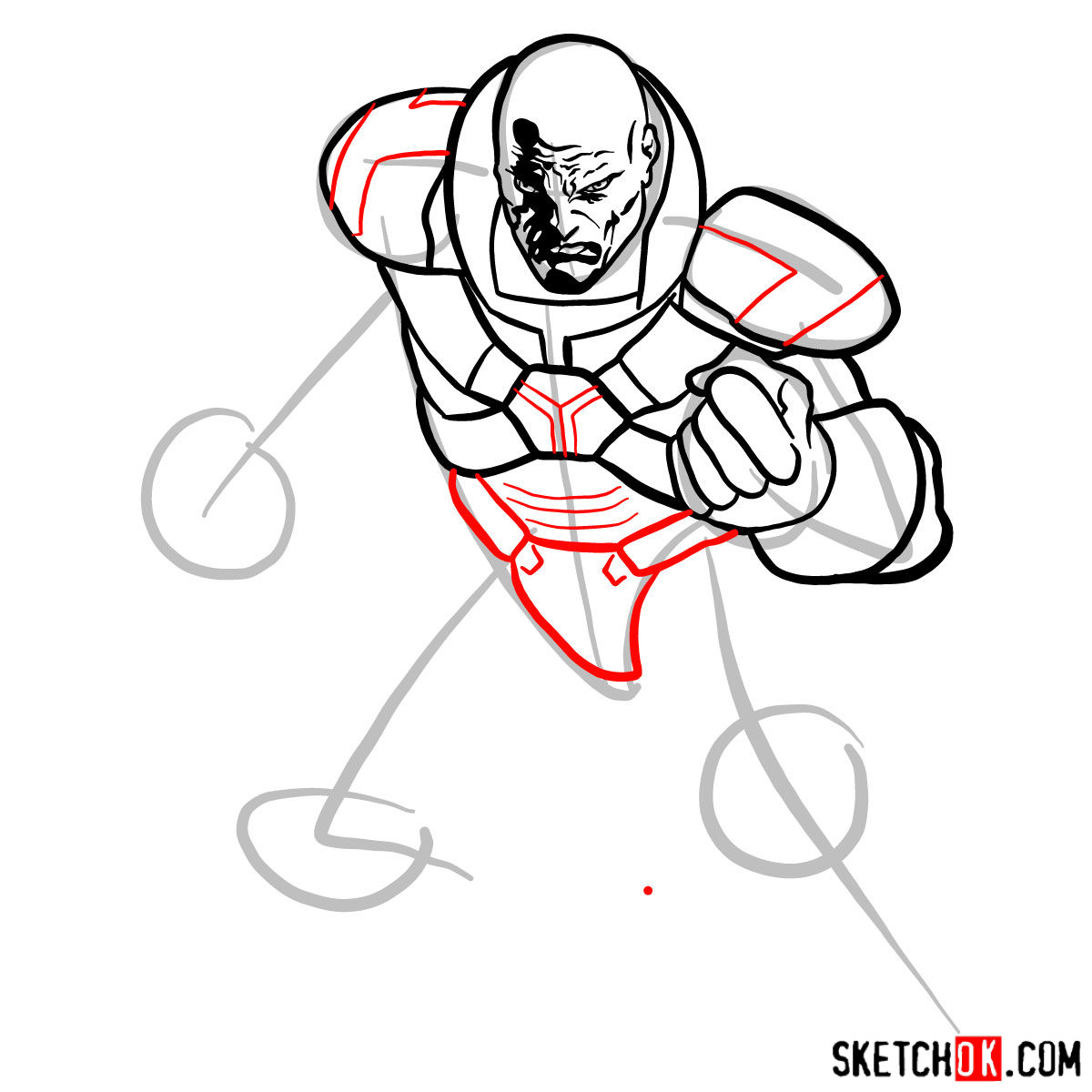 How to draw Lex Luthor - step 09