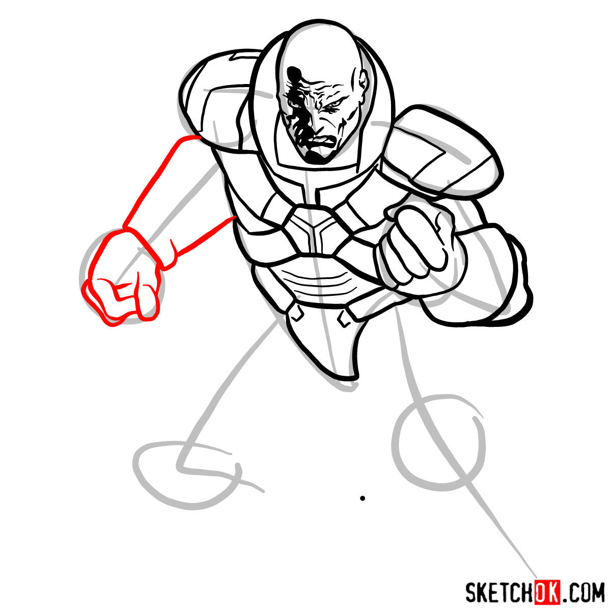 How to draw Lex Luthor - step 10