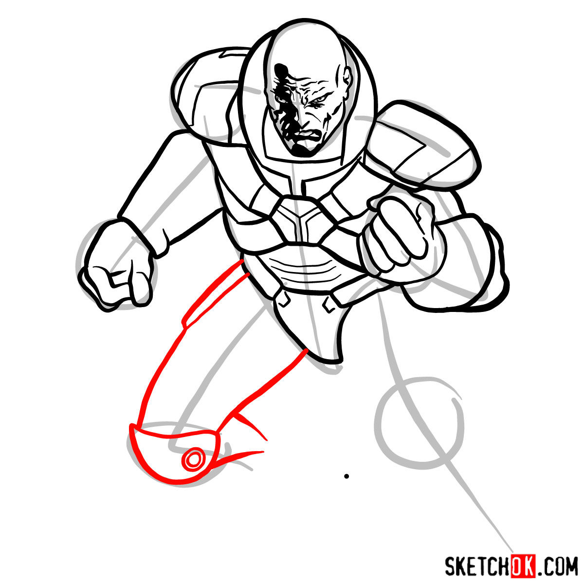 How to draw Lex Luthor - step 11