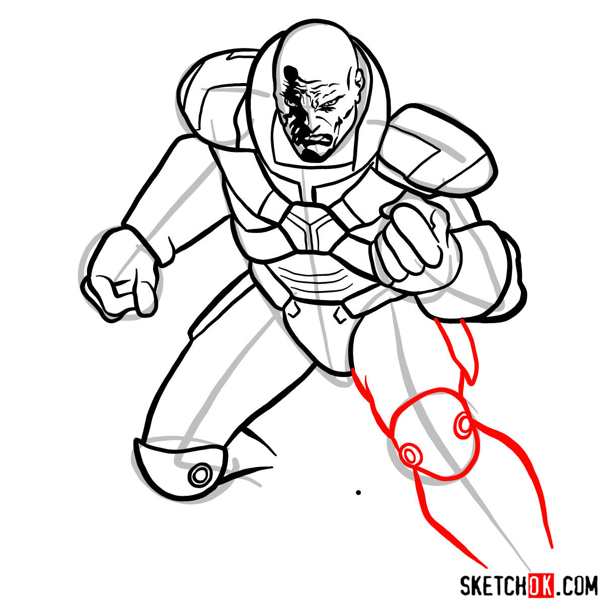 How to draw Lex Luthor - step 12