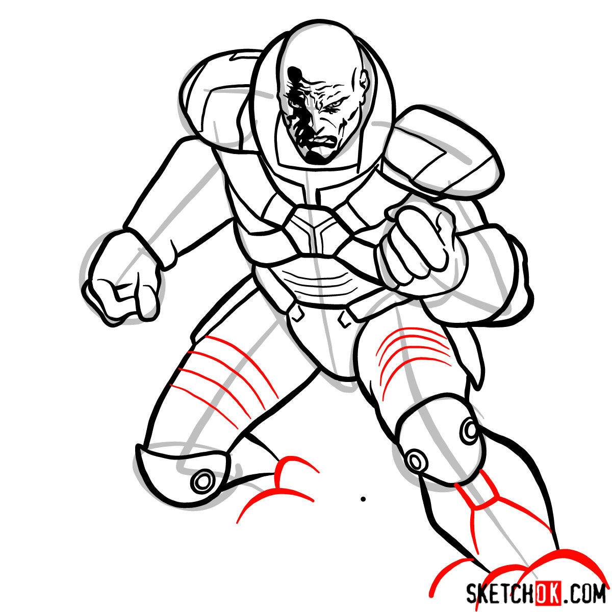 How to draw Lex Luthor - step 13