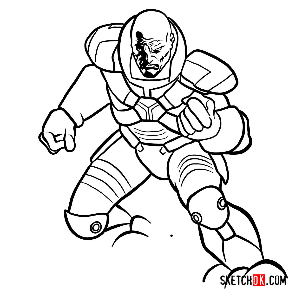 How to draw Lex Luthor - step 14