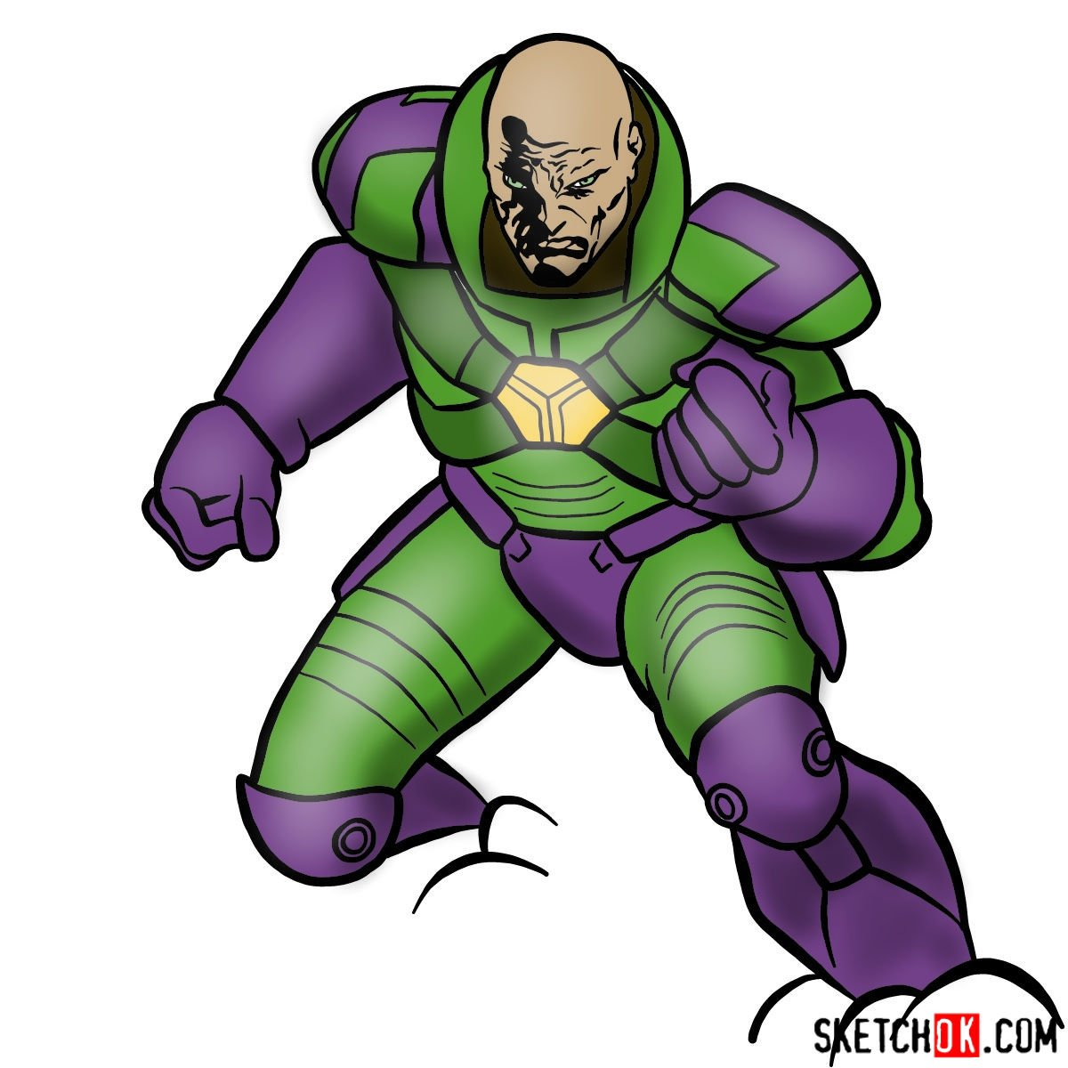 How to draw Lex Luthor - coloring
