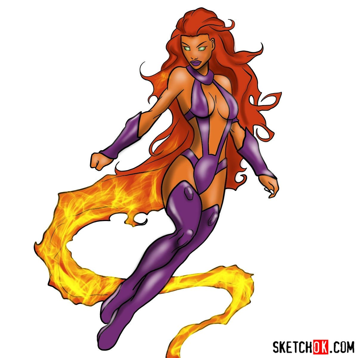 How to draw Starfire from DC Comics